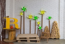 Laeacco Gray Brick Wall Windmill Baby Toys Wooden Board Child Photo Background Photography Backdrops Photocall Studio