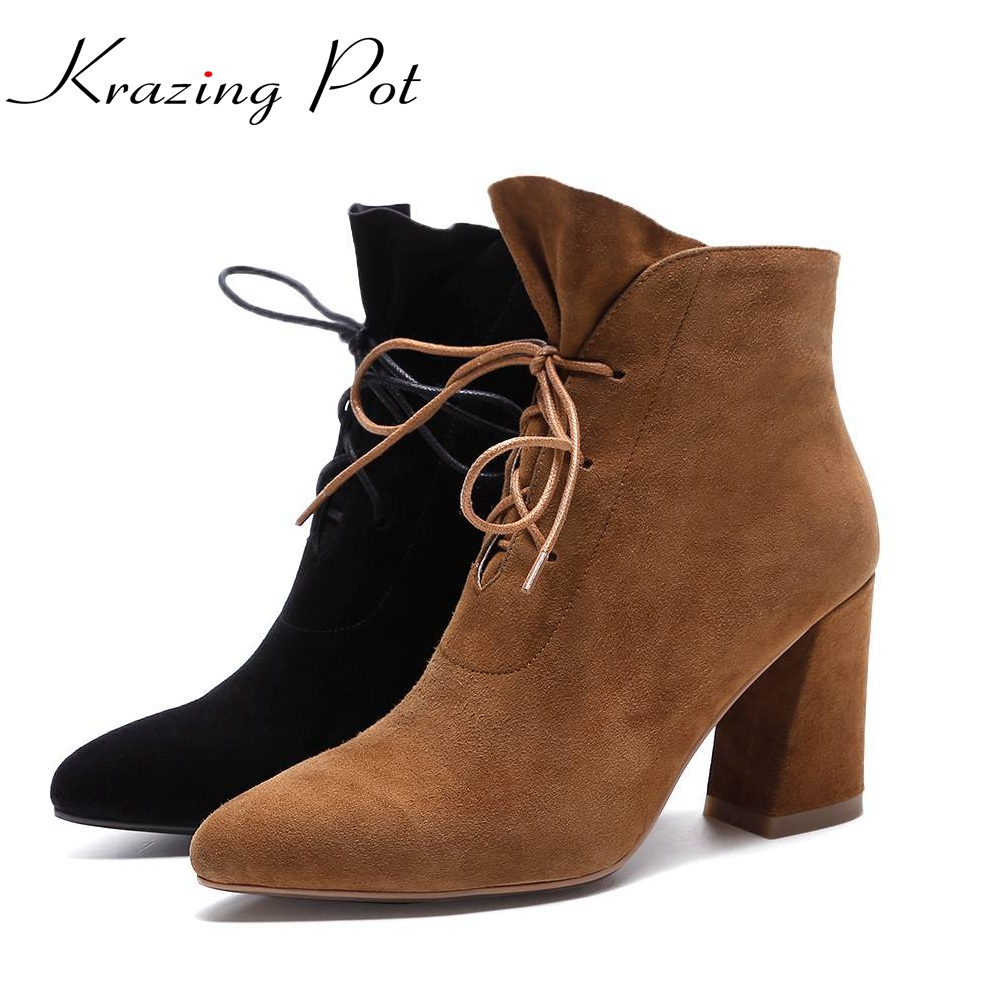 Krazing Pot cow suede Korean girl lacework streetwear thick high heels lace up pointed toe women fashion elegant ankle boots L67 pearl high heels shoes thick green women strange suede abnormal catwalk genuine leather pointed toe strap mary jane lace up