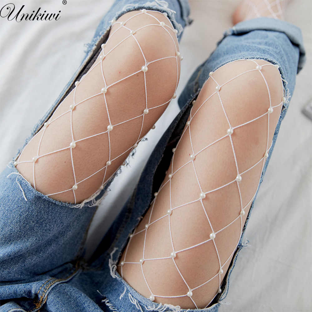 692c7f0c042083 Chic Women's Tights Imitation Pearls Fishnet Stockings.Ladies Hollow out  Mesh Fishnet