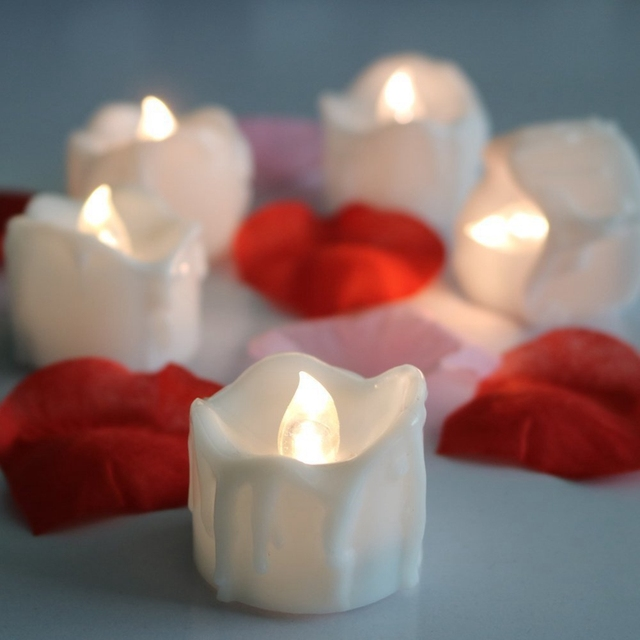 Redcolourful Flameless Flicker Tear Wax Drop Candle Mini Battery Operated Timer Tealights Tea Lights New Arrive Realistic Led Te