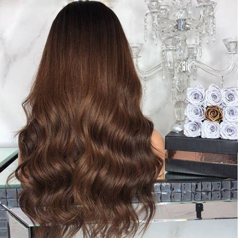 DLME 180 Density brown lace front wig ombre body wave synthetic hair wigs glueless with babyhair for women natural black root