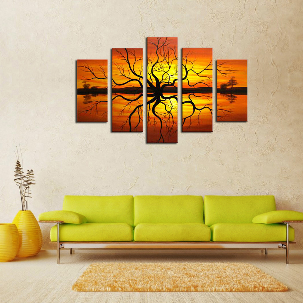 Framed Wall art 5 piece handmade african abstract paintings on ...
