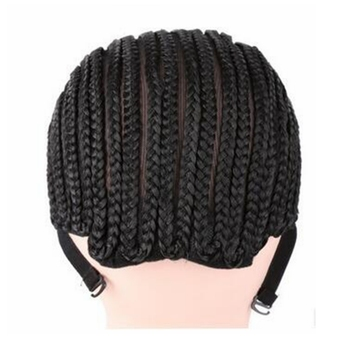 ( 2 Pieces/lot ) FREE Shipping Adjustable Strap Elastic Mesh Glueless Cornrow Crochet Synthetic Braided Weaving Wig Cap Black 4