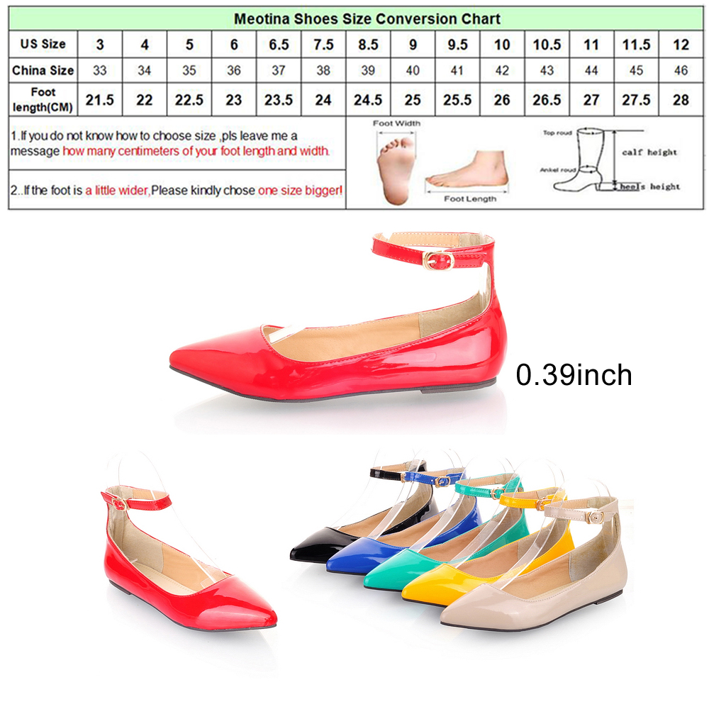 Meotina ladies shoes pointed toe flats ankle strap ballet shoes meotina ladies shoes pointed toe flats ankle strap ballet shoes yellow blue patent leather flat shoes women large size 9 10 42 in womens flats from shoes geenschuldenfo Choice Image