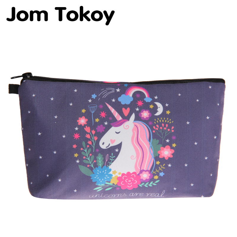 Jom Tokoy Cosmetic Bag Fashion Women Brand makeup bag 3D Printing Unicorn cosmetic organizer bags jom tokoy 3d printing unicorn makeup bags multicolor pattern cute women cosmetic bag