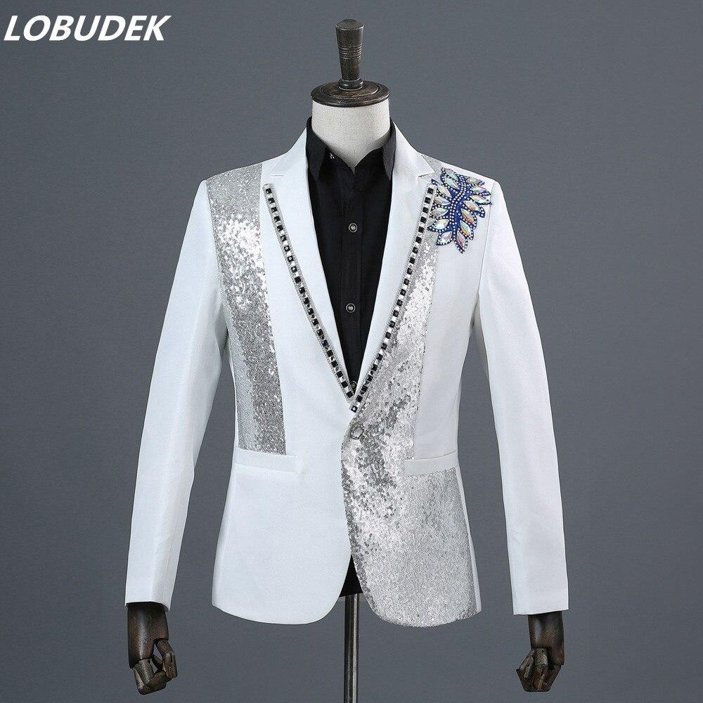 (Veste + pantalon) coloré diamant paillettes mâle costume ensemble hommes chanteur scène Chorus costumes studio shoot performance robe hôte spectacle