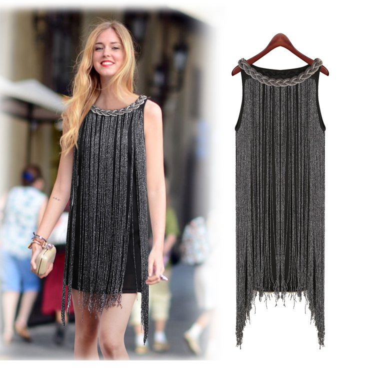 HALTER-NECK FRINGE BEADED WOMAN DRESS GREAT GATSBY OMBRE METAL Latin Dance BODYCON 1920S FLAPPER CHARLESTON SEXY PARTY DRESS  Платье