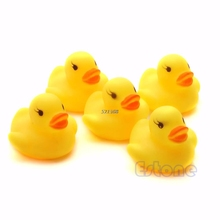 Lot 20pcs Yellow Baby Kids Children Bath Toy Cute Rubber Race Squeaky Duck Ducky Wholesale