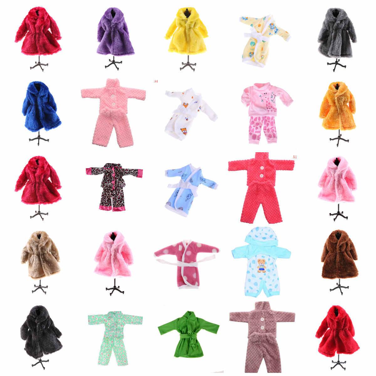 מכירה לוהטת צבעוני פרווה מעיל מיני לבגדי חורף חם ללבוש בובות פרווה בובת בגדי ילדים צעצוע בובת אבזרים