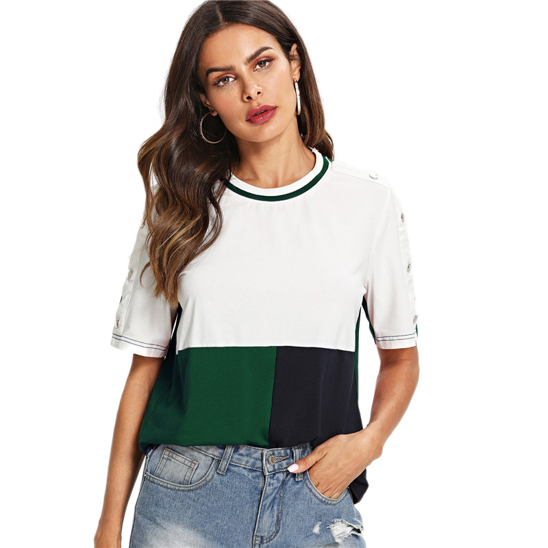 7e62b4b5840fa SHEIN Multicolor Colorblock Buttoned Sleeve Cut and Sew T-shirt Short  Sleeve Round Neck 2019