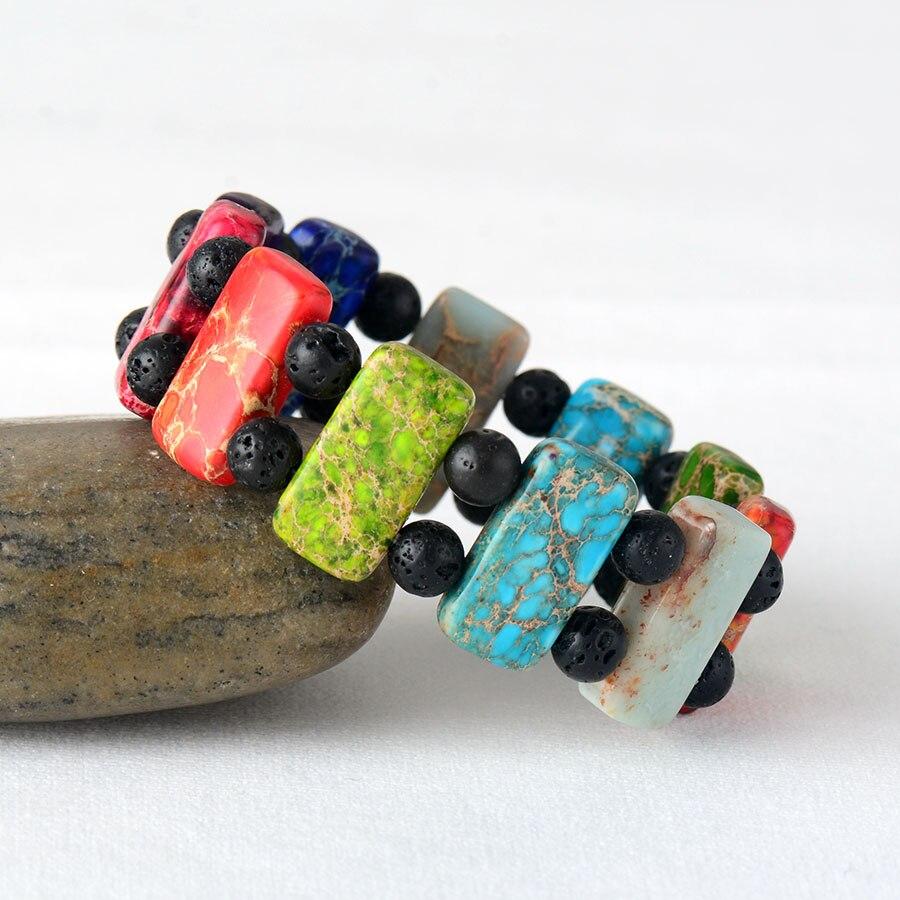 Men Women Chakra Bracelets Jewelry 7 Color Natural Stones Stretch Bracelet Couples Elastic Bracelets Creative Gifts
