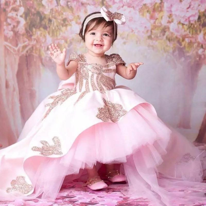 Princess Pink Flower Girl Dresses High Low Beaded Little Girls Pageant Dresses Ball Gown Tiered Backless Sequined First Communio