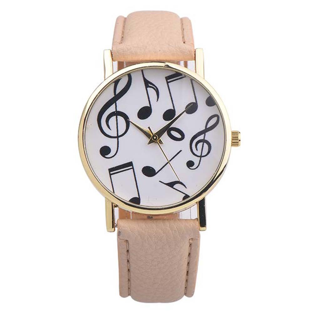 Casual Relojes Mujer Women's Watch Fashion Musical Notes Leather Band Quartz WristWatch Female Watches Relogio Feminino 2016#77 relojes mujer classic new fashion casual watches women dress quartz watch mickey hollow dial leather wristwatch relogio feminino
