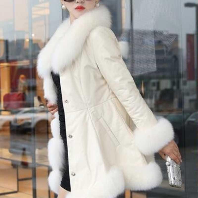 מכירה לוהטת חורף נשים של פו פרווה באיכות גבוהה פו כבש מעילי להתחמם עם פרווה שועל קולרים Slim נקבה פרוות בתוספת גודל