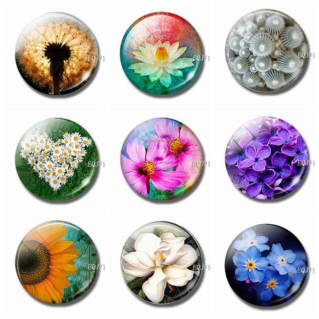 Luminous Flower Fridge Magnet Glass Sunflower Lotus Daisy Rose Sakura Dandelion Magnetic Sticker for Refrigerator for Home Decor 2