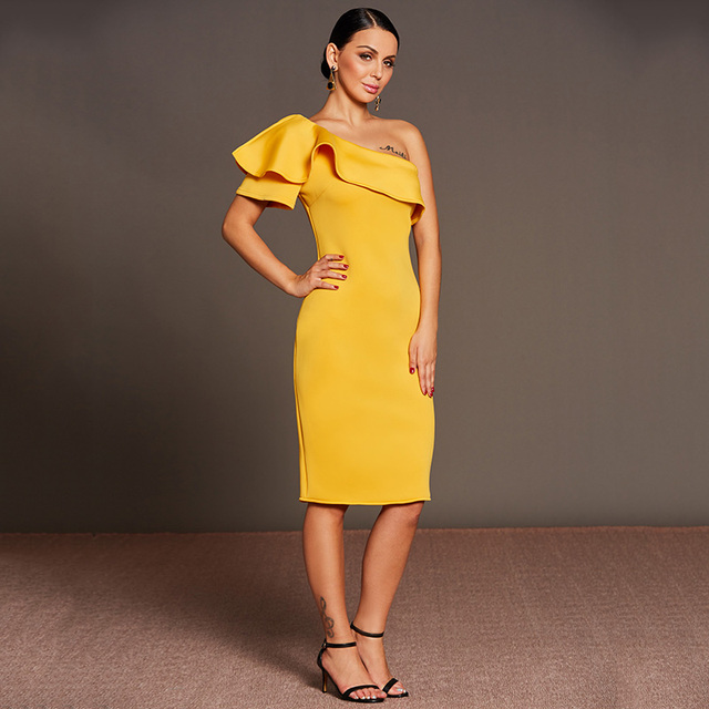 e3b5b710a1c05 Tanpell oblique collar cocktail dress yellow one shoulder ruffle ...