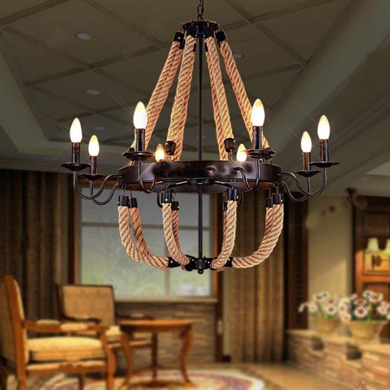 Hemp Pendant Lighting Vintage For Decoration Restaurant
