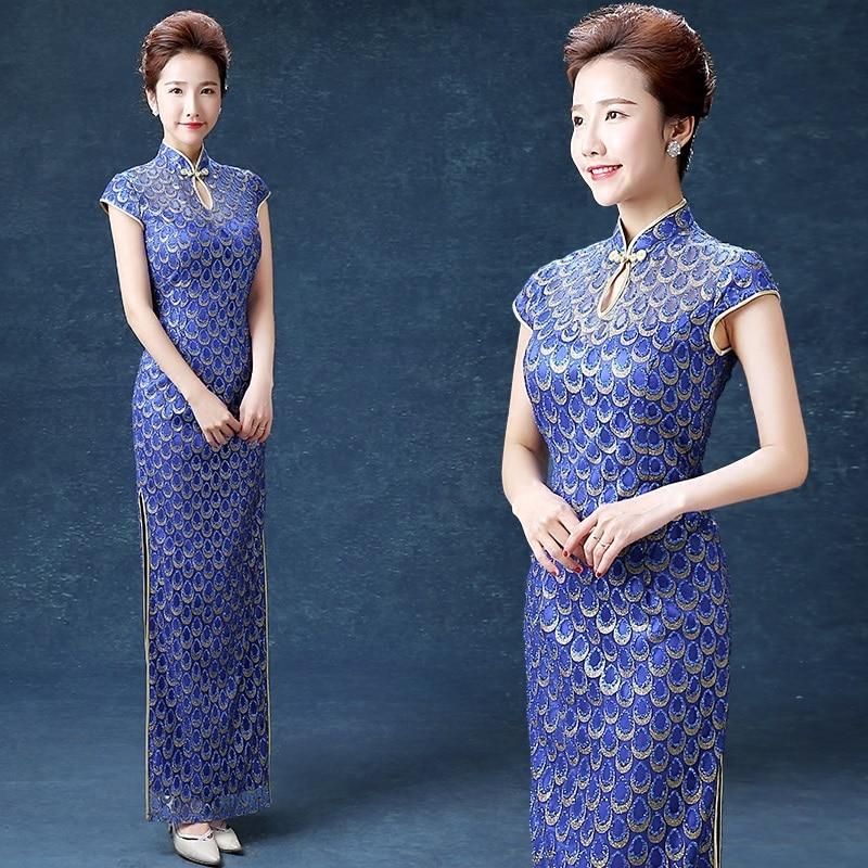 wanita biru panjang penuh anggun cheongsam elegan shanghai gaun - Pakaian kebangsaan - Foto 1