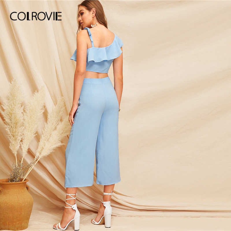 COLROVIE синий гофрированный Вырез один погон элегантный женский комбинезон 2019 брюки с широкими штанинами комбинезоны Бохо комбинезоны