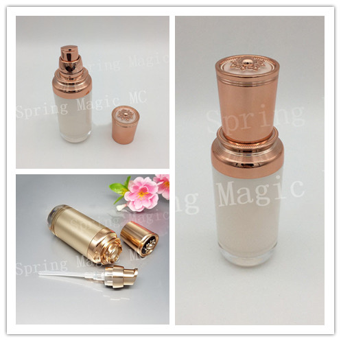30ml Pearl White Gold Luxury Acrylic Bottles For Lotion Emulsion Foundation Skin Care Bottle Flat Top