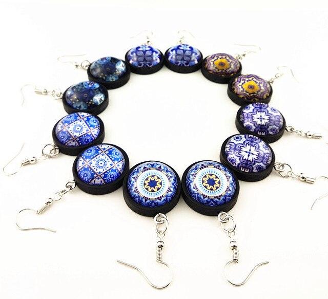 Купить 24 пар/лот сине белые фарфоровые узоры мандала ювелирные изделия