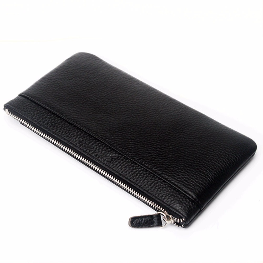 New Men Cowhide Genuine Leather Phone Clutch Bag Case Pocket Coin Purse Male Card Holder Pack Vintage Wallet DropShipping kenneth cole new york womens leather clutch wallet w iphone smart phone pocket