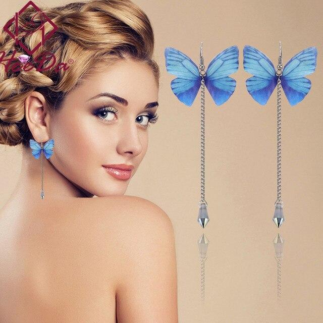 2018 New Butterfly Long Earring for Women Pearl Delicate Cute Earrings Korean Fa