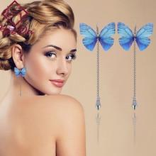 Anting Mutiara Kupu-kupu Panjang Tinggi Mutiara Liontin Subang Busana Berlebihan Multi-warna Brincos Perhiasan Kristal Anggun