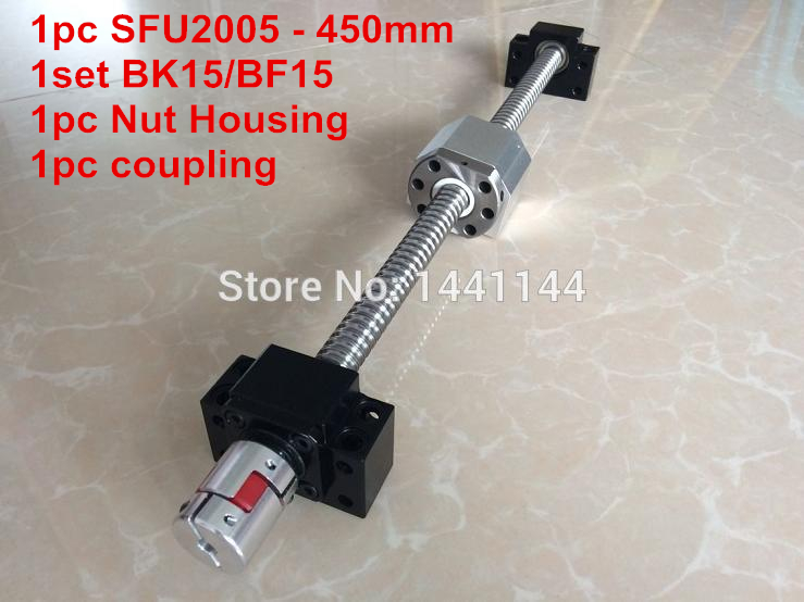 SFU2005- 450mm ball screw  with METAL DEFLECTOR ball  nut + BK15 / BF15 Support + 2005 Nut housing + 12*8mm Coupling sfu2005 800mm ball screw with metal deflector ball nut bk15 bf15 support 2005 nut housing 12 8mm coupling