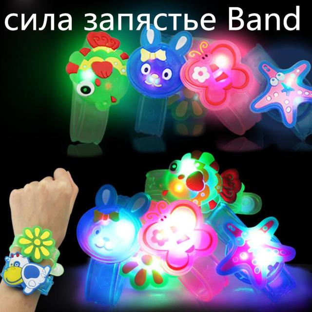 2018 Hot Sale Cute New Style Children Toy Cartoon Animals And Flowers Night Light Plastic Wrist Belt  Christmas Toy Dropshopping