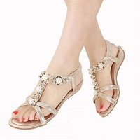 Bohemian Women Sandals Crystal Flat Heel Rhinestone Women Shoes Thong Flip Flops Zapatos Mujer 2018
