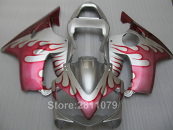 Injection motorcycle fairing kit for Honda CBR600 F4I 01 02 03 red flames silver fairings CBR600RR F4I 2001-2003 HU47