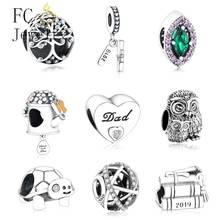 Fit Original Pandora Charm Bracelet 925 Sterling Silver Number 2019 GRADUATION Dangle Pendant Charm Bead DIY Jewelry Berloque