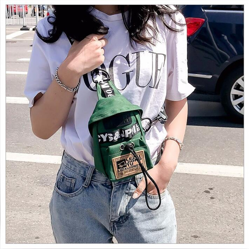 Mihaivina  Canvas Waist Bag Women Casual Chest Bag Street Sport Black Fanny Pack Girl Waist Belt Bags Fashion Phone Waist Pack
