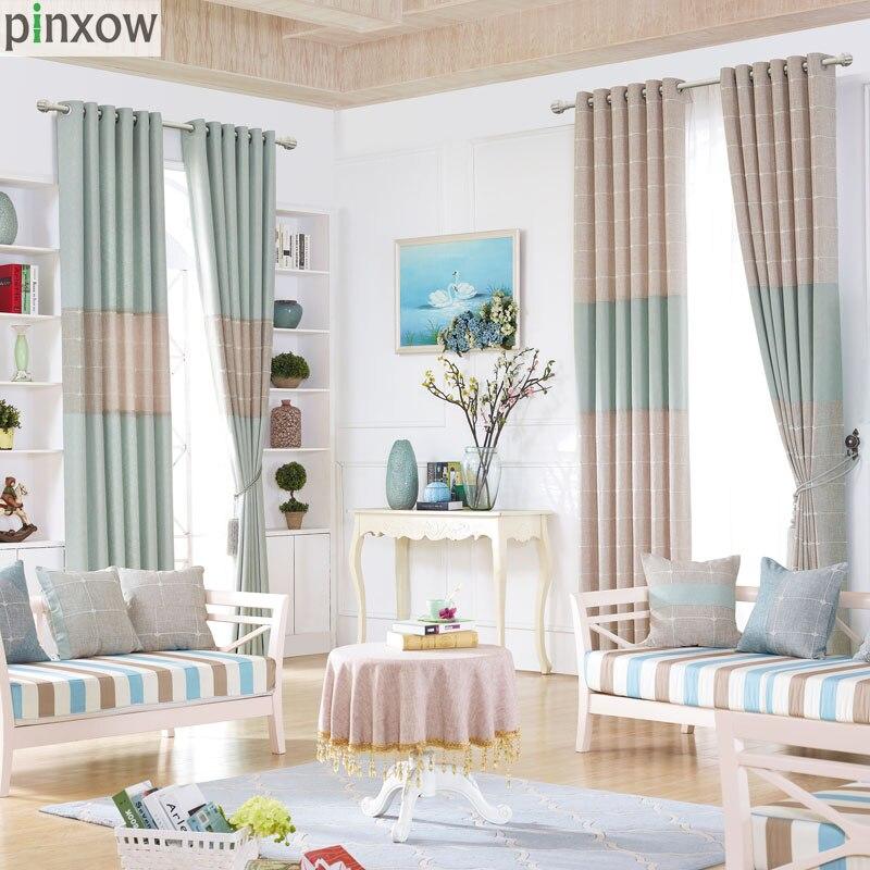Modern Linen Plaid Curtains For Living Room Beige Girl Drapes For Bedroom Dinning Room Window