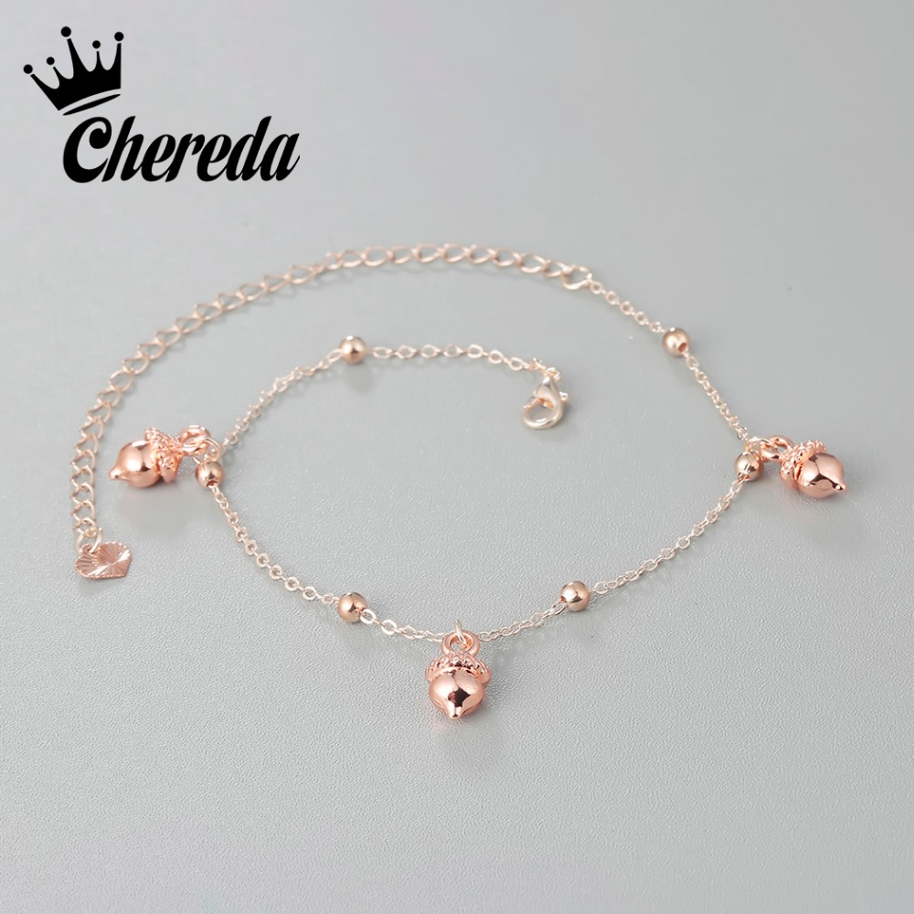 Chereda Charms Anklet Little Pine Cones Foot Bracelets For Women Beads Barefoot Adjustable Fine Jewelry Birthday Present
