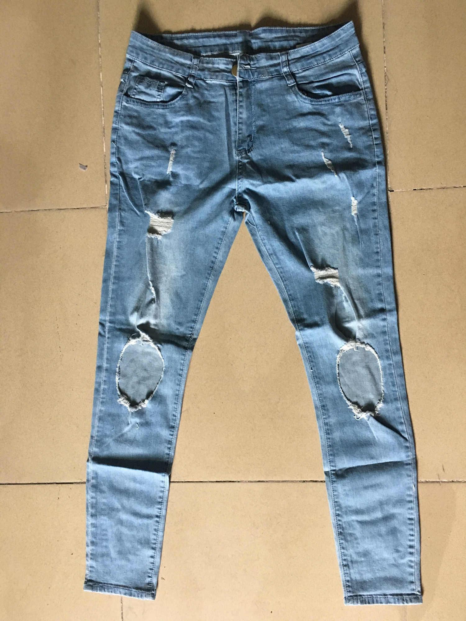 Moda streetwear calças de brim masculinas vintage azul cor cinza magro destruído jeans rasgados calças de brim do punk quebrado homme hip hop
