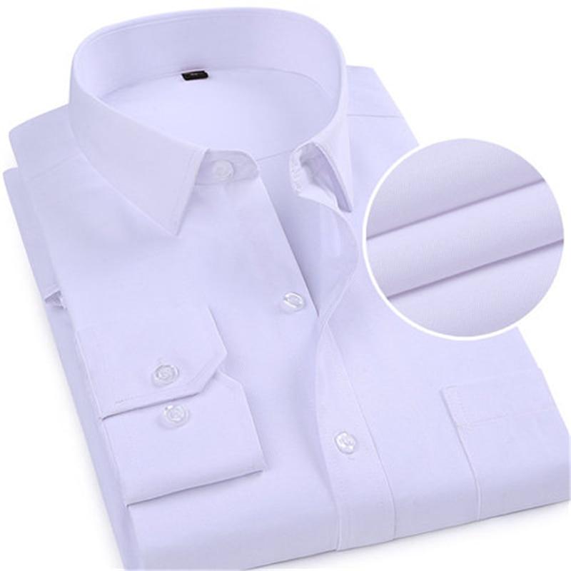 2019 Neue Ankunft Männer Business Weiß Solide Shirts Langarm Mann Kleid Shirts Männlichen Voll Casual Shirt Männer Slim Kleidung