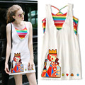 New Summer Women Denim Dress Stripped Rainbow Colorful Tank Twinsets Embroidery Cards White Loose Ladies Casual Dress NS418