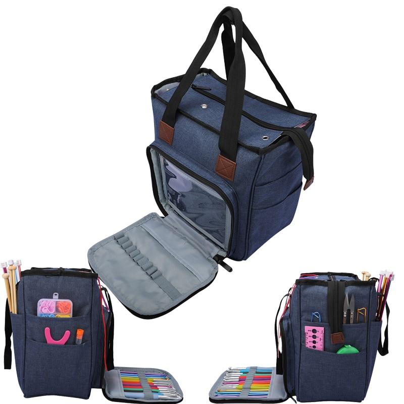 Yarn Storage Bag Knitting Bag Tote Storage Bag for Wool Crochet Hooks Knitting Needle Sewing Kit Bag DIY Household Organizer Bag