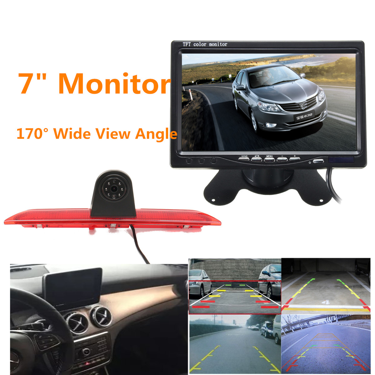 Car Brake Light Rear View Camera For Ford Transit with 1/3 For Sony CCD IR Led light Night Vision Waterproof With 7 Monitor 700tvl hd metal dual rear view camera 1 3 ccd sony outdoor waterproof ir night vision for vehicle car dvr surveillance security