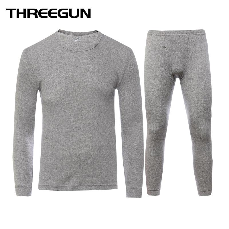THREEGUN Lange Unterhosen Set Für Männer 100% Baumwolle Winter Rundhals Warme Ultra-Weichen Einfarbig Dünne Thermische Unterwäsche männer Pyjamas