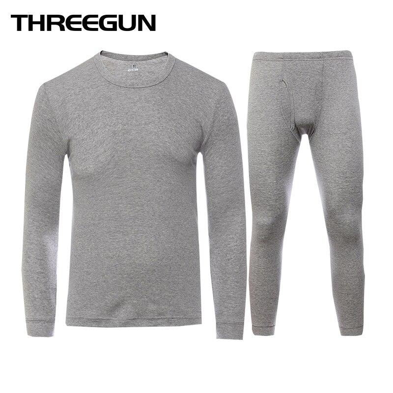 THREEGUN largo Johns conjunto para hombres, 100% algodón de invierno cuello redondo cálido Ultra-suave Color sólido fino ropa interior térmica pijamas de los hombres