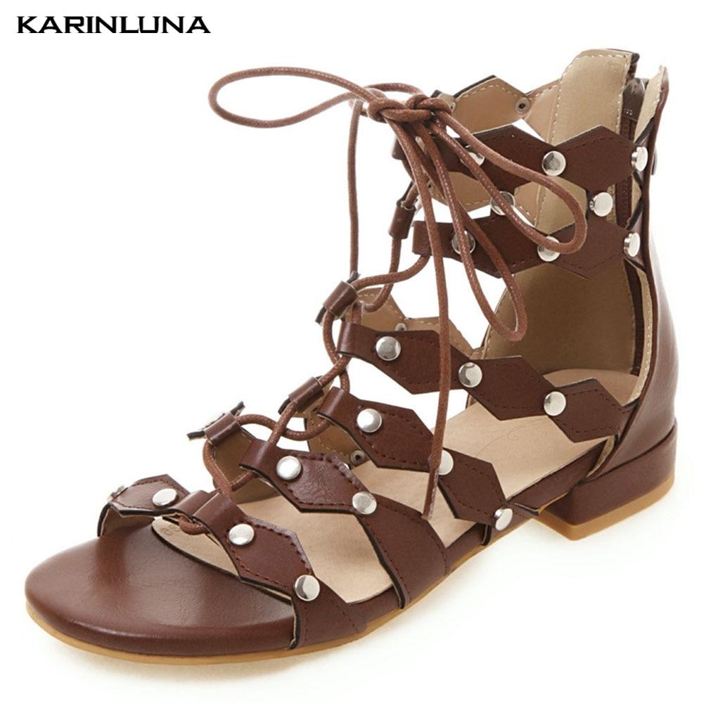 KarinLuna Women Shoes Big Size 33-46 Rivet Punk Fashion Gladiator Party Summer Sandals Shoes WomanKarinLuna Women Shoes Big Size 33-46 Rivet Punk Fashion Gladiator Party Summer Sandals Shoes Woman