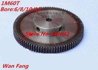 1 cái Mod 1 M = 1 1M60T CNC Spur Giảm Tốc Bánh răng 60 T 60 Răng Răng Phải tích cực bánh 45 # thép bánh răng truyền RC