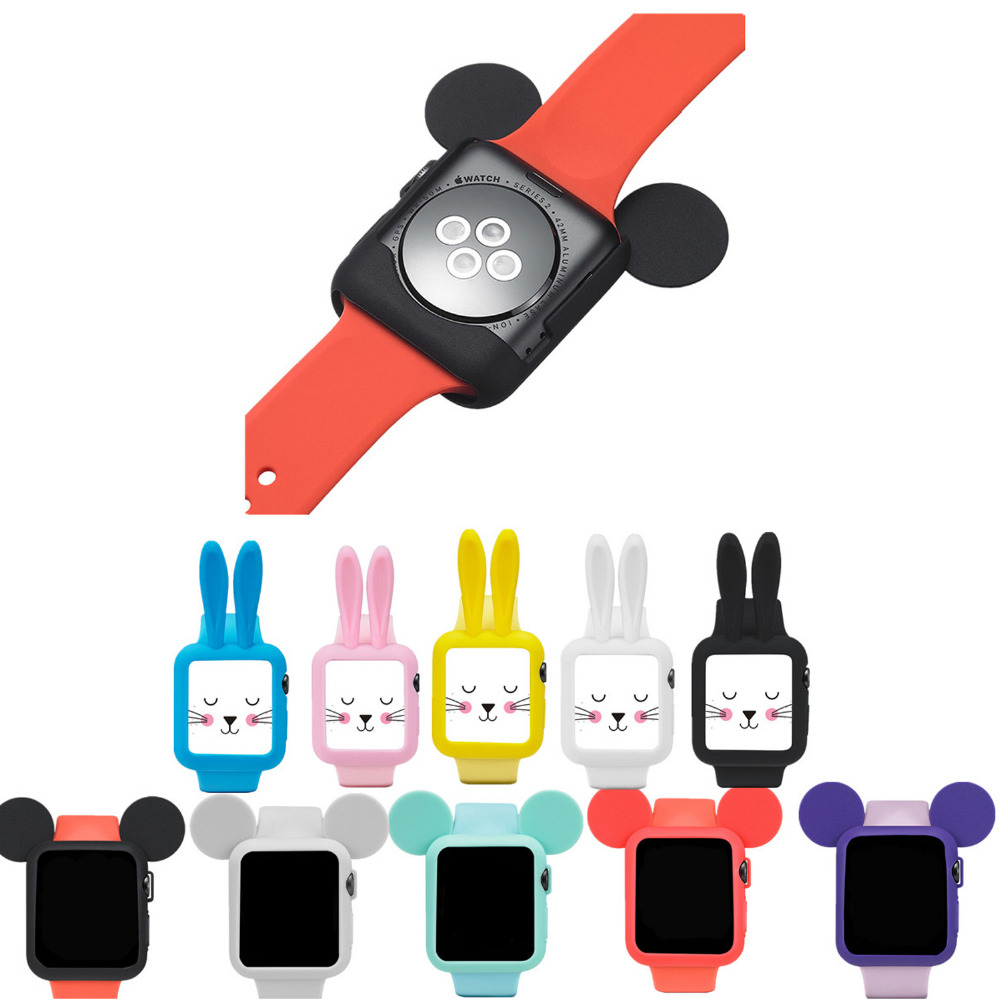 Cute cartoon Mouse rabbit ears Soft Silicone protective for Apple Watch case iWatch 1/2 42 mm/38 Colorful cover shell