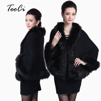 2015 Winter Women Sweater Cardigan Female Fox Fur Collar Poncho Cape Bridal Wedding Wool Shawl Cape