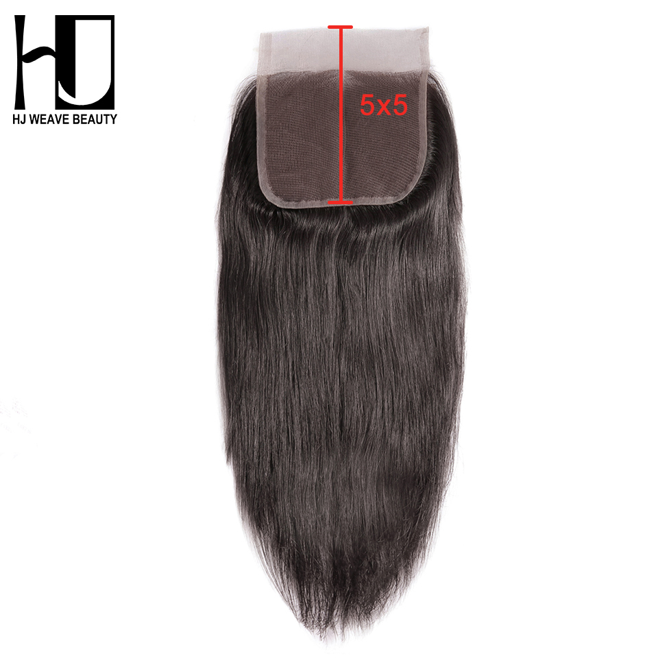 HJ Weave Beauty Brazilian Straight 5x5 Lace Closure Natural Color 8-20 Inch Swiss Lace 100% Human Hair Remy Hair