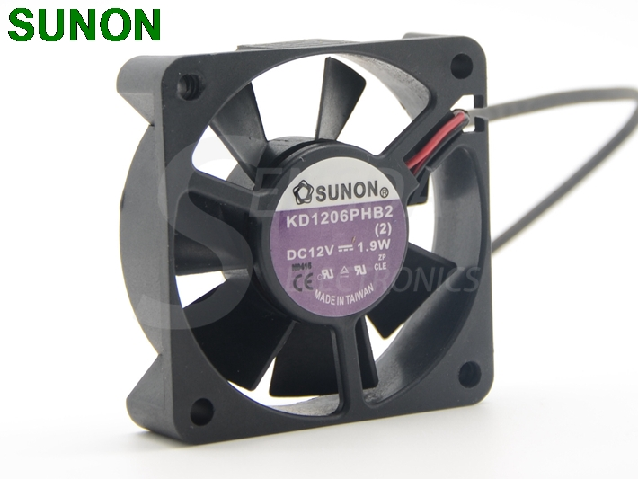 Brand SUNON KD1206PHB2 <font><b>60</b></font>*<font><b>60</b></font>*15 <font><b>mm</b></font> DC 12V 0.19W 2Wire Silence Server Cooling <font><b>Fan</b></font> image