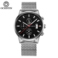 OCHSTIN Fashion Sport Stainless Steel Men Watches Quartz 3ATM Water resistant Luminous Man Wristwatch Calendar Chronograph